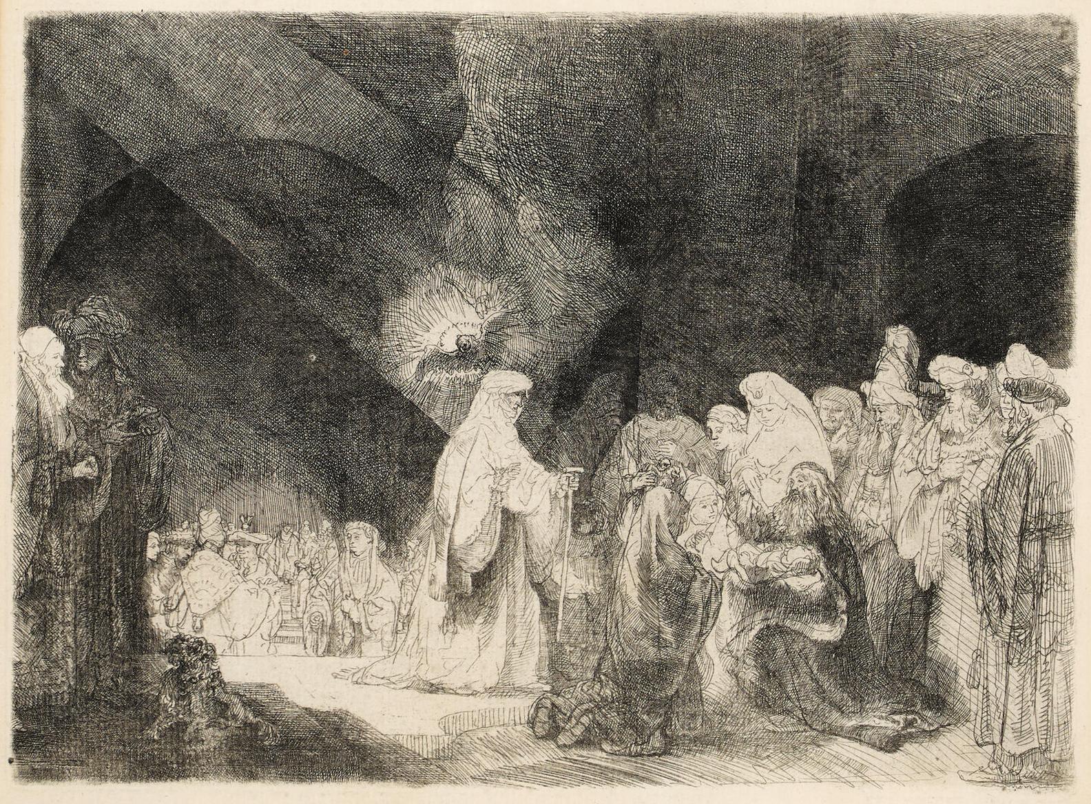 Rembrandt van Rijn-The Presentation In The Temple: Oblong Print-1640