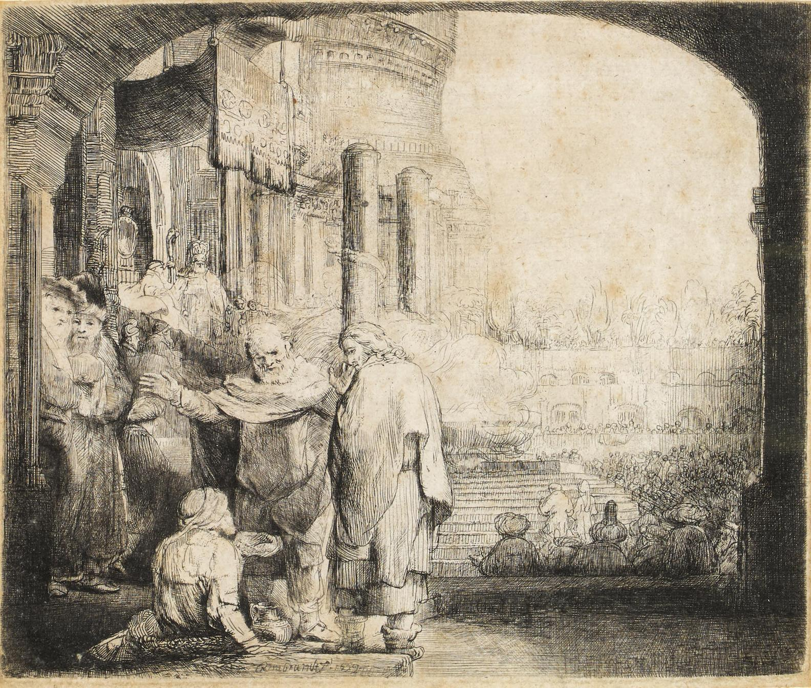 Rembrandt van Rijn-Peter And John Healing The Cripple At The Gate Of The Temple-1659