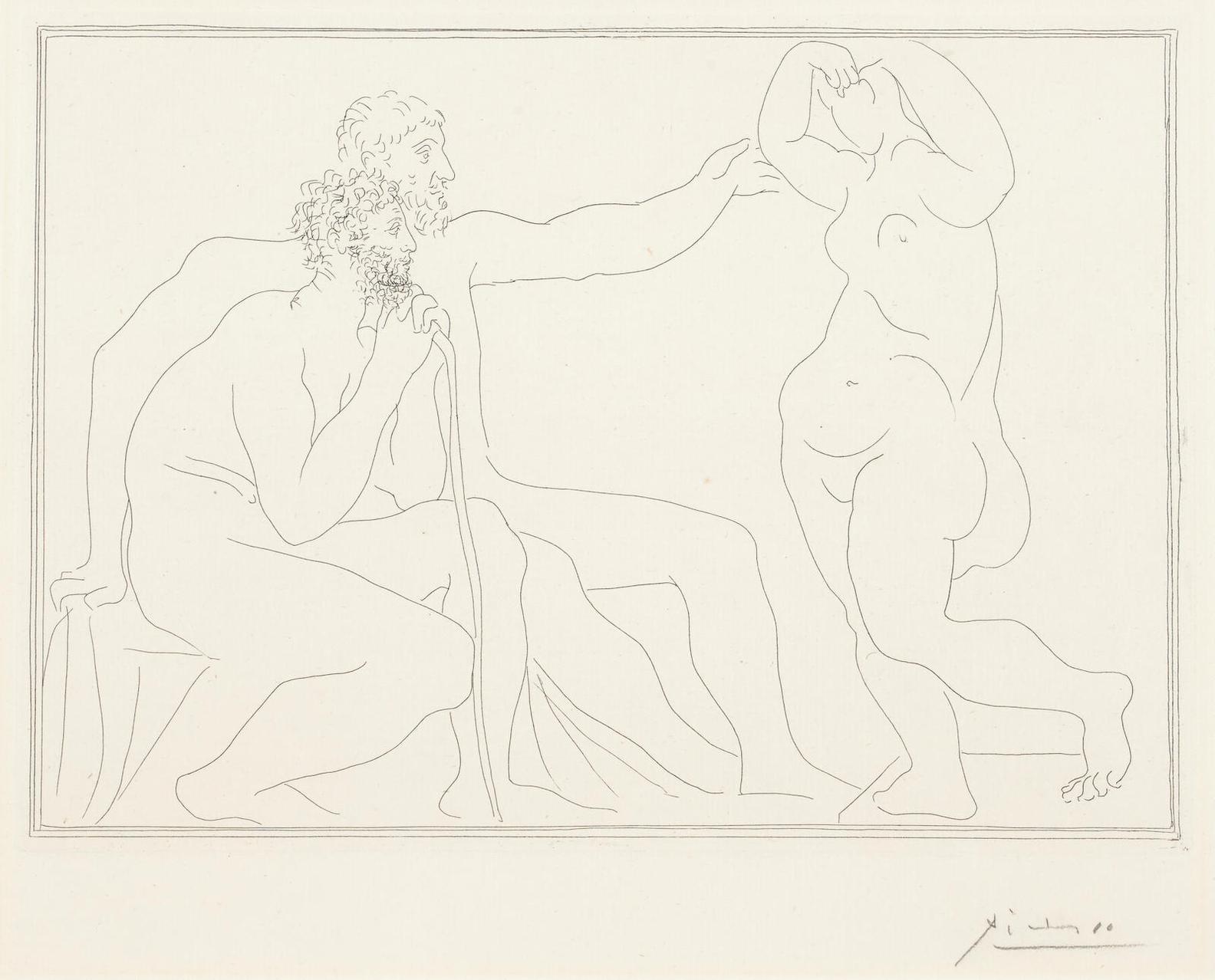 Pablo Picasso-Deux Sculptures Devant Une Statue, Pl. 7, From La Suite Vollard-1931