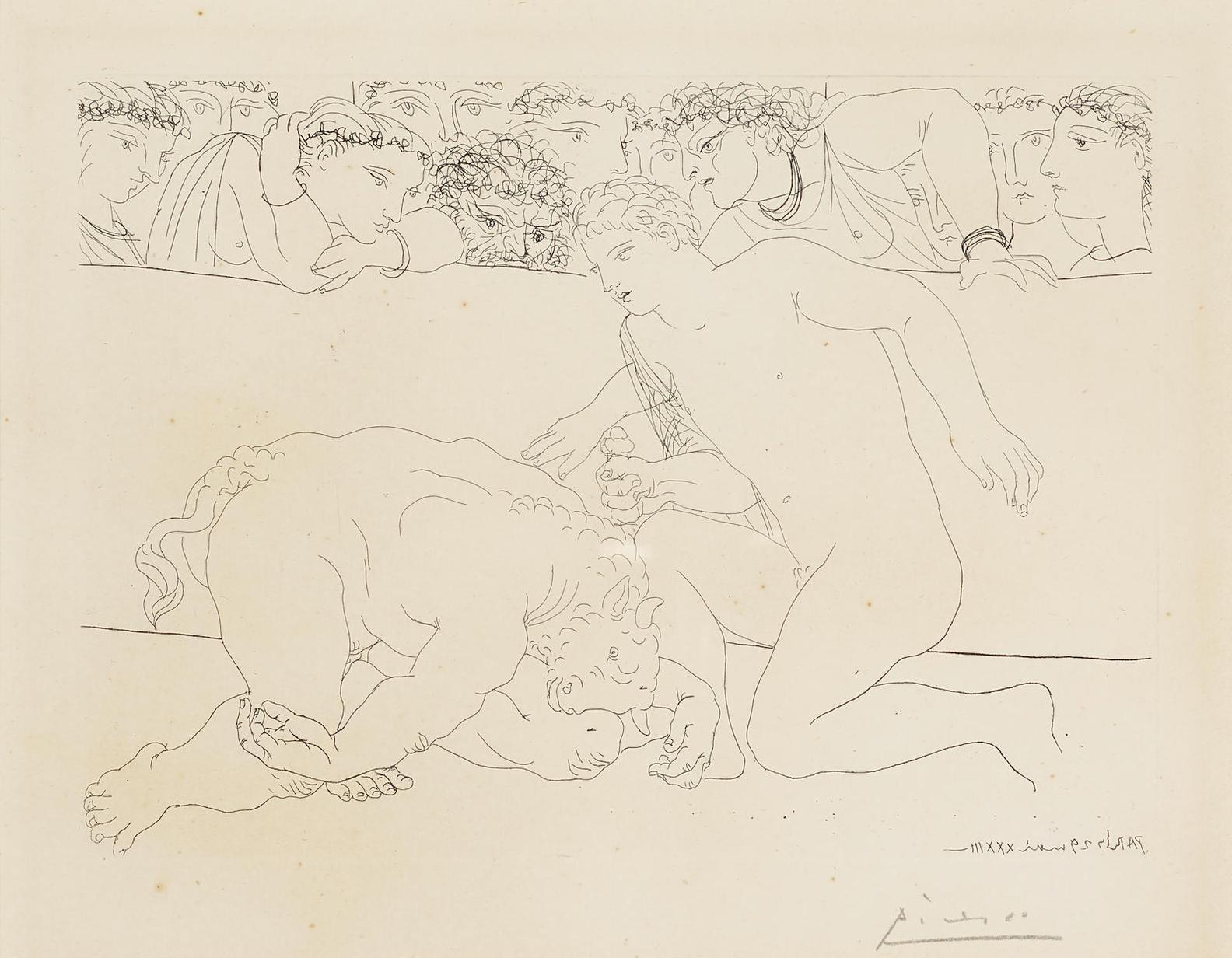 Pablo Picasso-Minotaure Vaincu, Pl. 89, From La Suite Vollard-1937