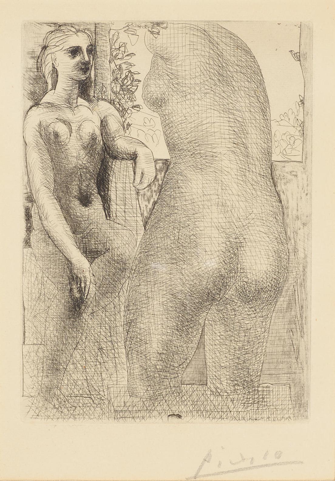 Pablo Picasso-Modele Et Grande Sculpture De Dos, Pl. 73, From La Suite Vollard-1937