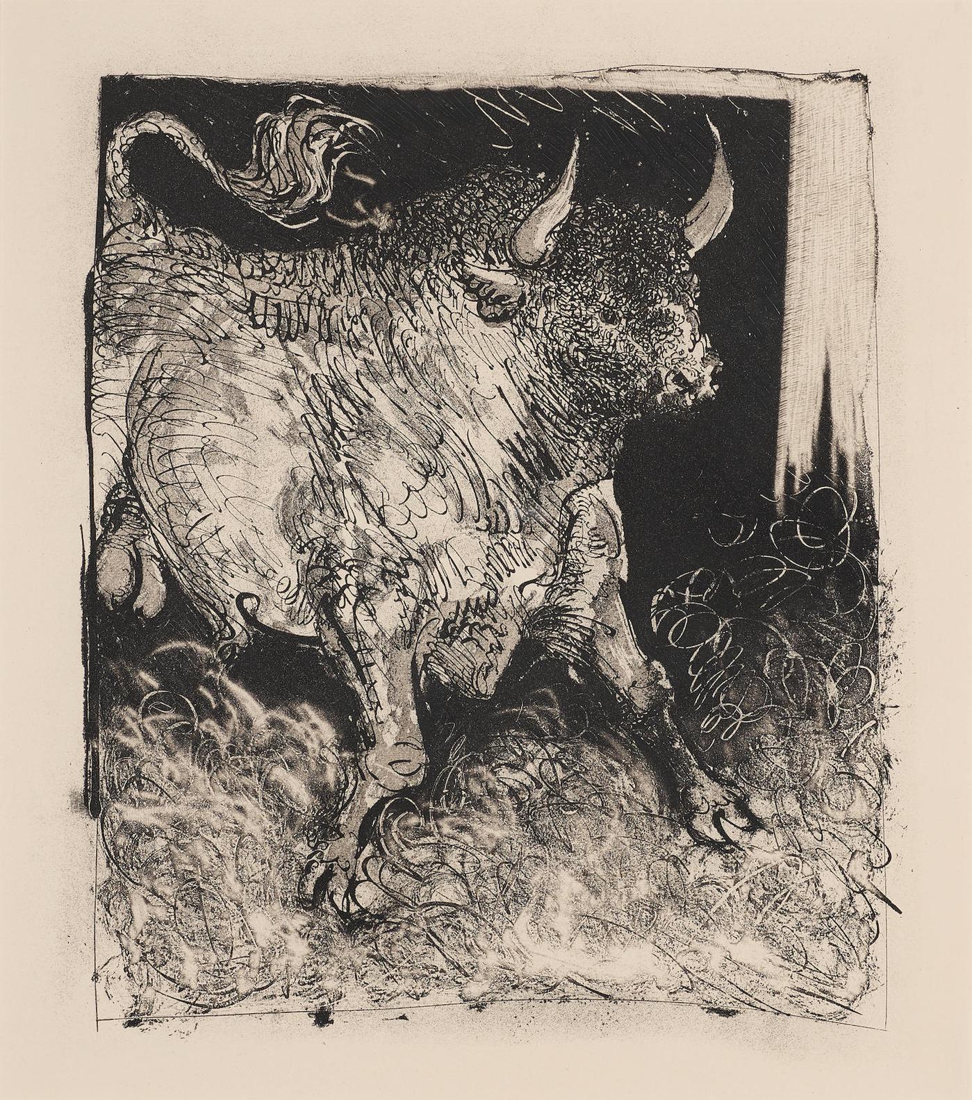 Pablo Picasso-Le Taureau, Pl. 4, From Histoire Naturelle-1942