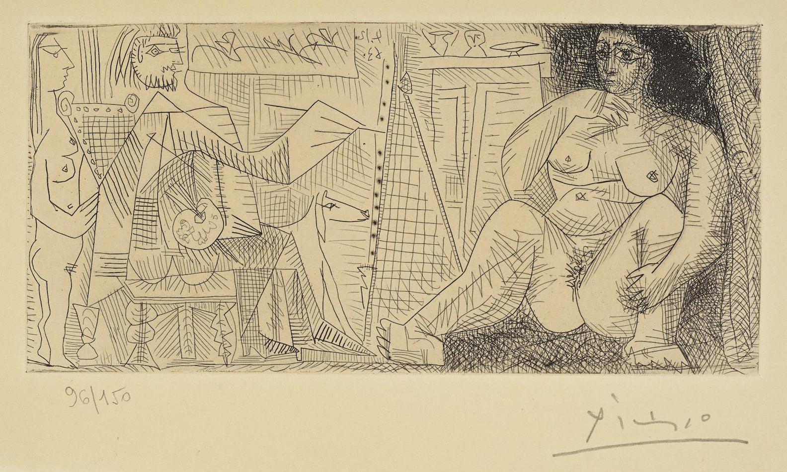 Pablo Picasso-Dans Latelier: Peintre, Modele Et Spectatrice-1963