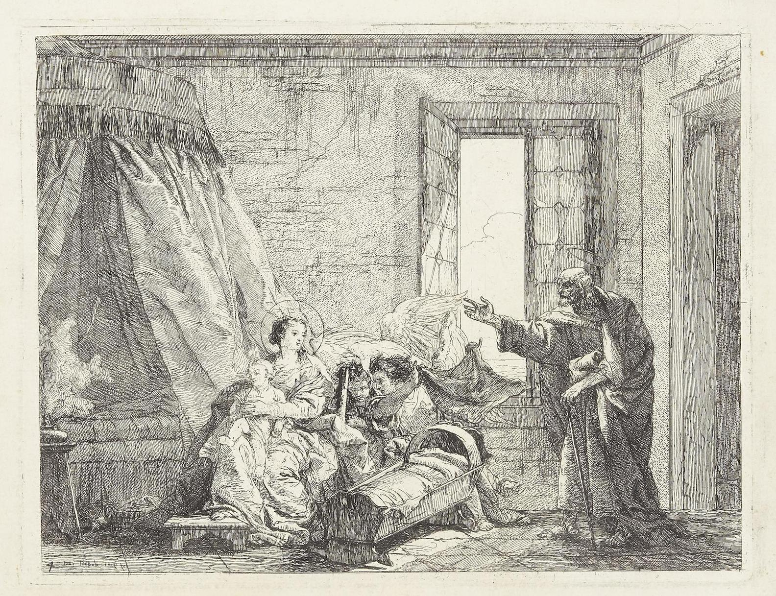 Giovanni Domenico Tiepolo-Joseph Tells Mary Of Their Forthcoming Departure, Pl. 4, From The Flight Into Egypt-1753
