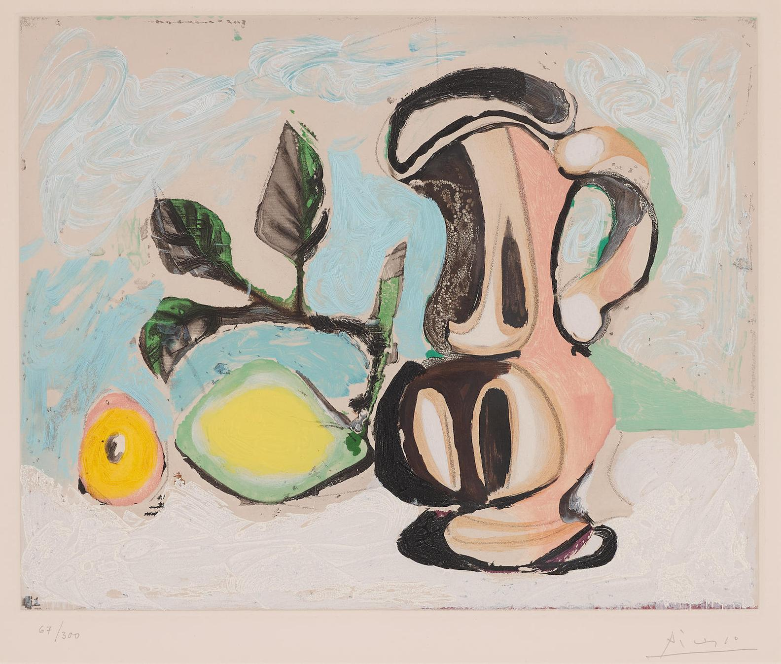 After Pablo Picasso - Nature Morte Au Citron Et Au Pichet Rouge-1960
