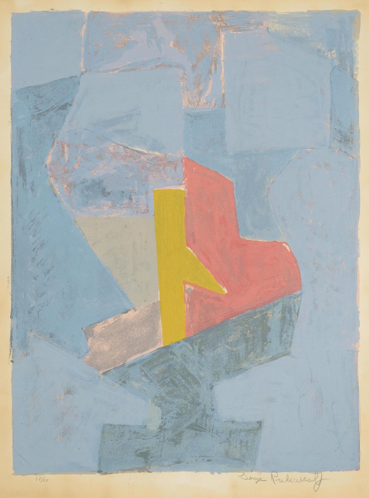 Serge Poliakoff-Composition Bleue, Jaune Et Rouge-1958