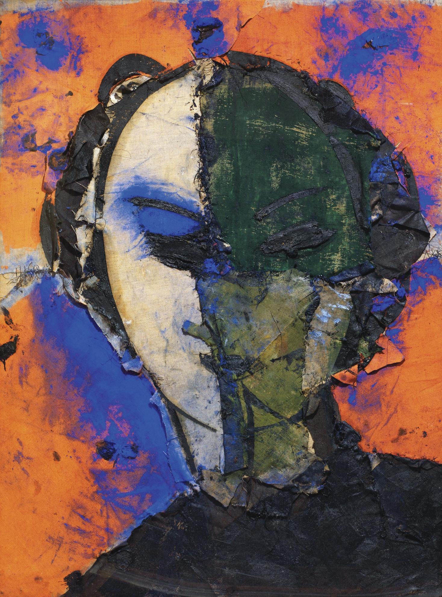 Manolo Valdes-Retrato Con Fondo Naranja-2007