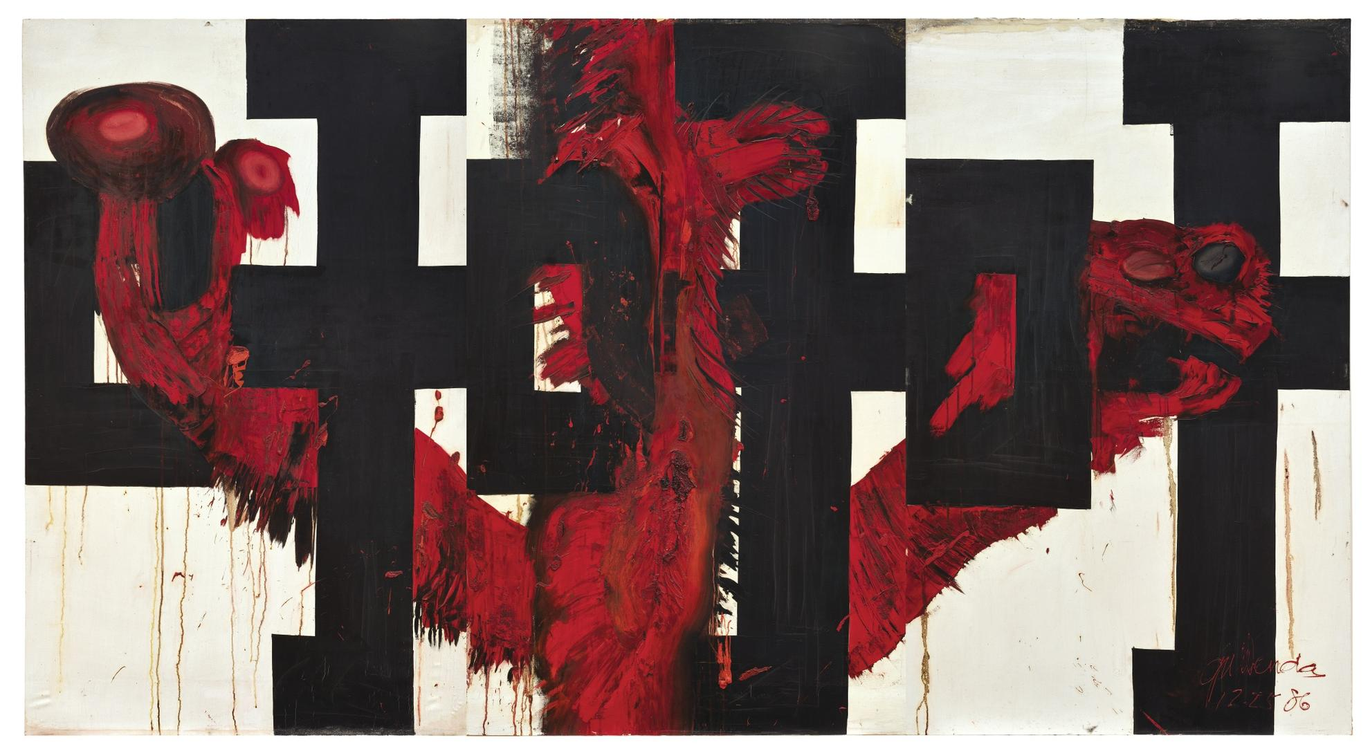 Wenda Gu-Exclamatory Word And Bound Human Innards Series: Xu! Xu! Xu! (Triptych)-1986
