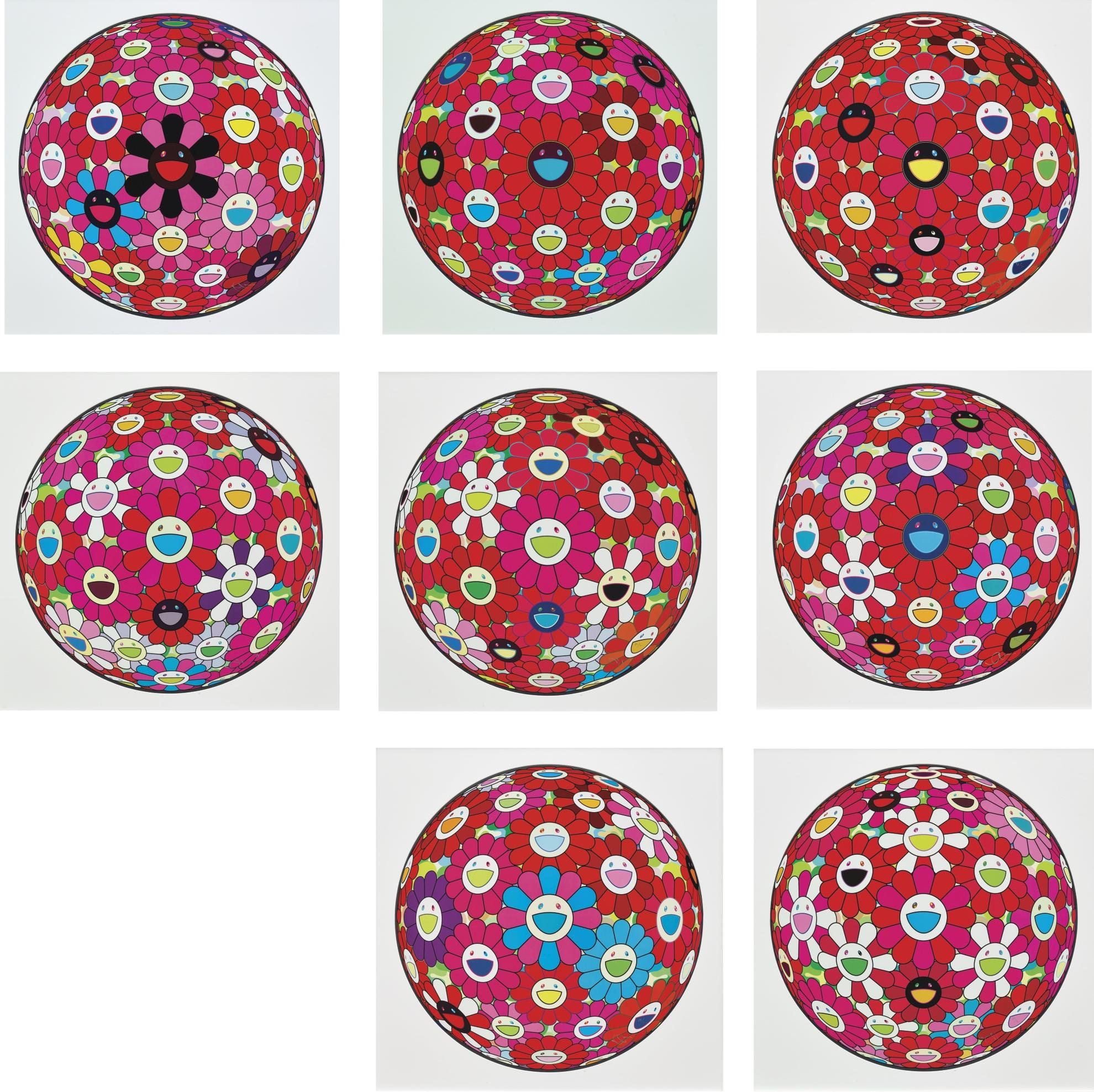 Takashi Murakami-Flowerball Series And Other (Eight Works)-2014