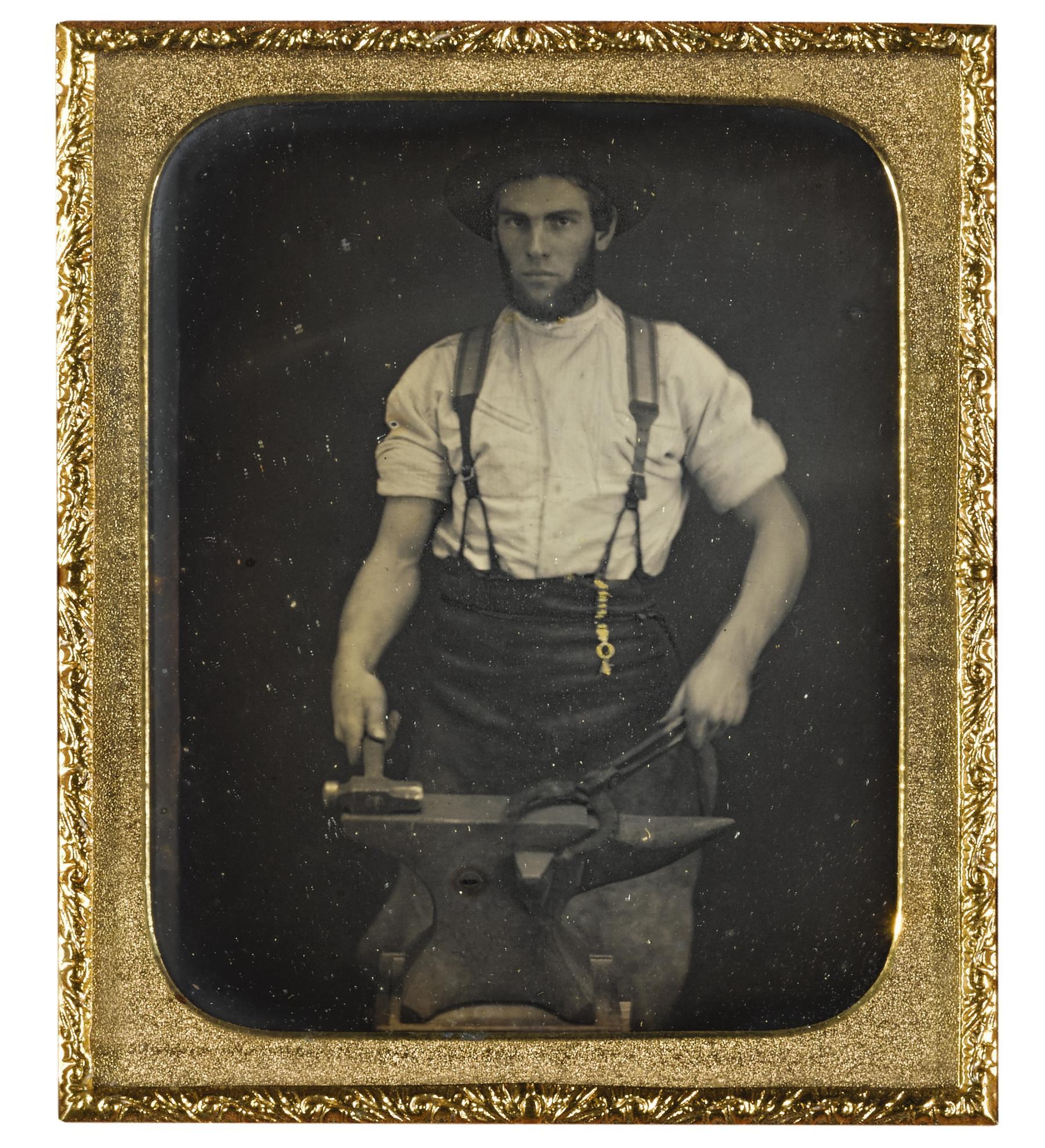 Summer A. Smith - Blacksmith Forging A Horseshoe-1860