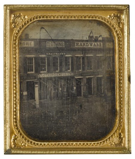 Anonymous American Photographer - Street Scene With Clothing Emporium, Possibly Near Syracuse, New York-1850