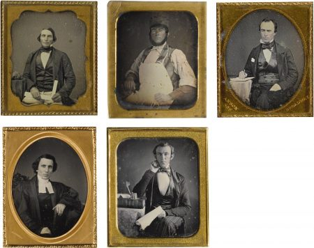 Rufus Anson And Anonymous American Photographer - Selected Occupational Portraits (comprising The Scribe by Rufus Anson; The Butcher by William Bell; The Judge by Jeremiah Gurney; The Carpenter by John T. Williams; and The Accountant with Ledger)-1850