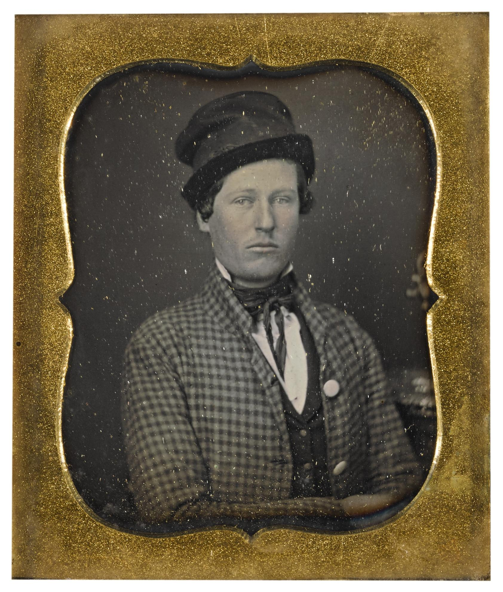 Attributed To Gabriel Harrison - Portrait Of A Young Man In Checkered Coat, Possibly An Actor-1850