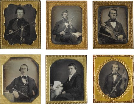 Anonymous American Photographers - Selected Portraits Of Musicians (comprising Man Demonstrating Violin; Composer and his Work; Bearded Man with Bow and Violin; Man Posed with Clarinet & Composition; Young Man with Violin; and Clarinetist)-1850