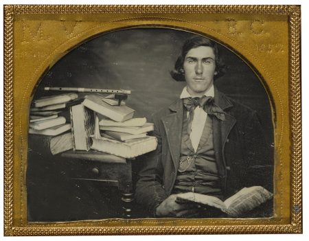 Anonymous American Photographer - Musician With Still Life Of Flute And Books-1857