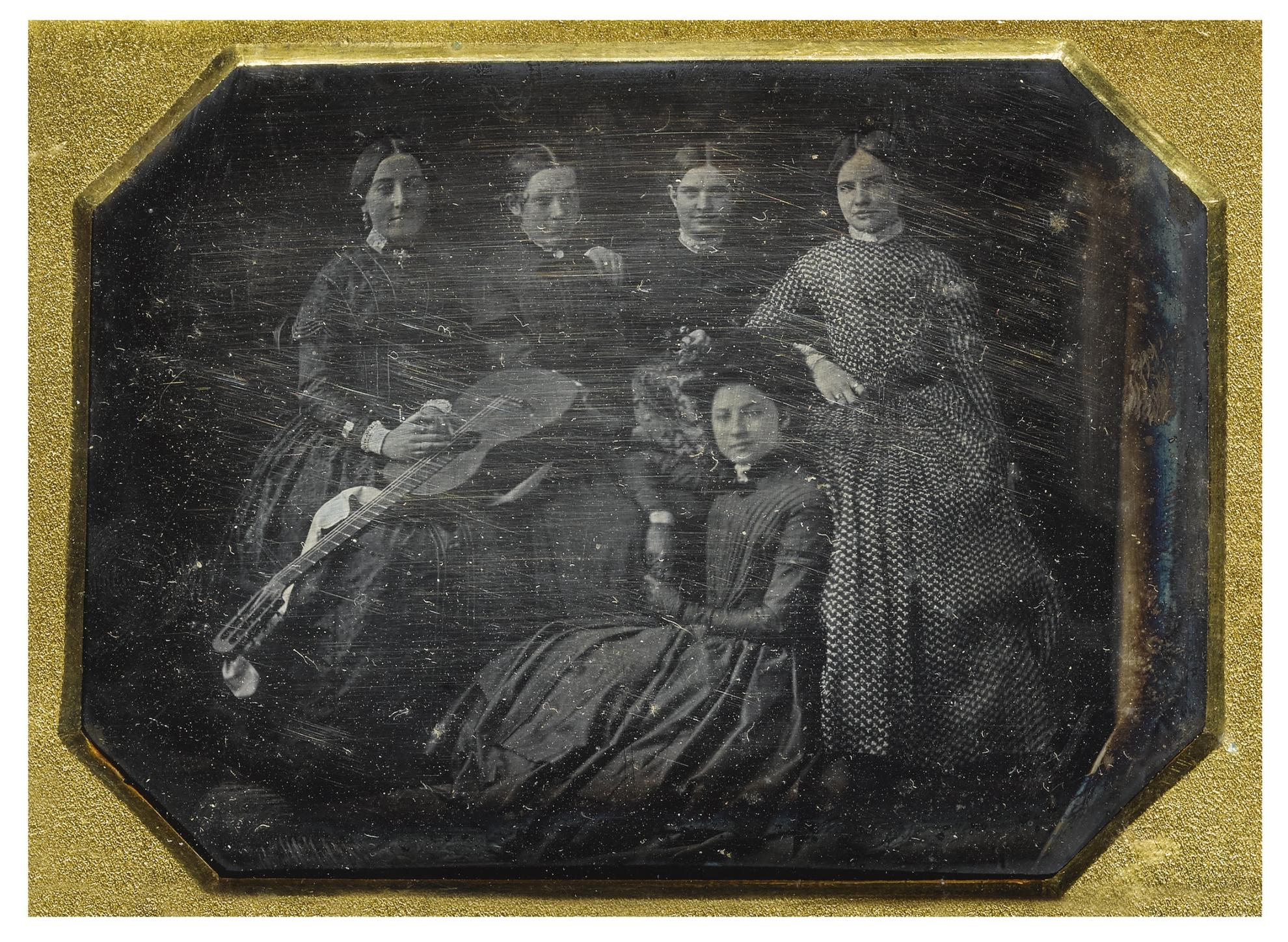 Attributed To Charles Fontayne - A Group Of Women Musicians With Guitar-1850