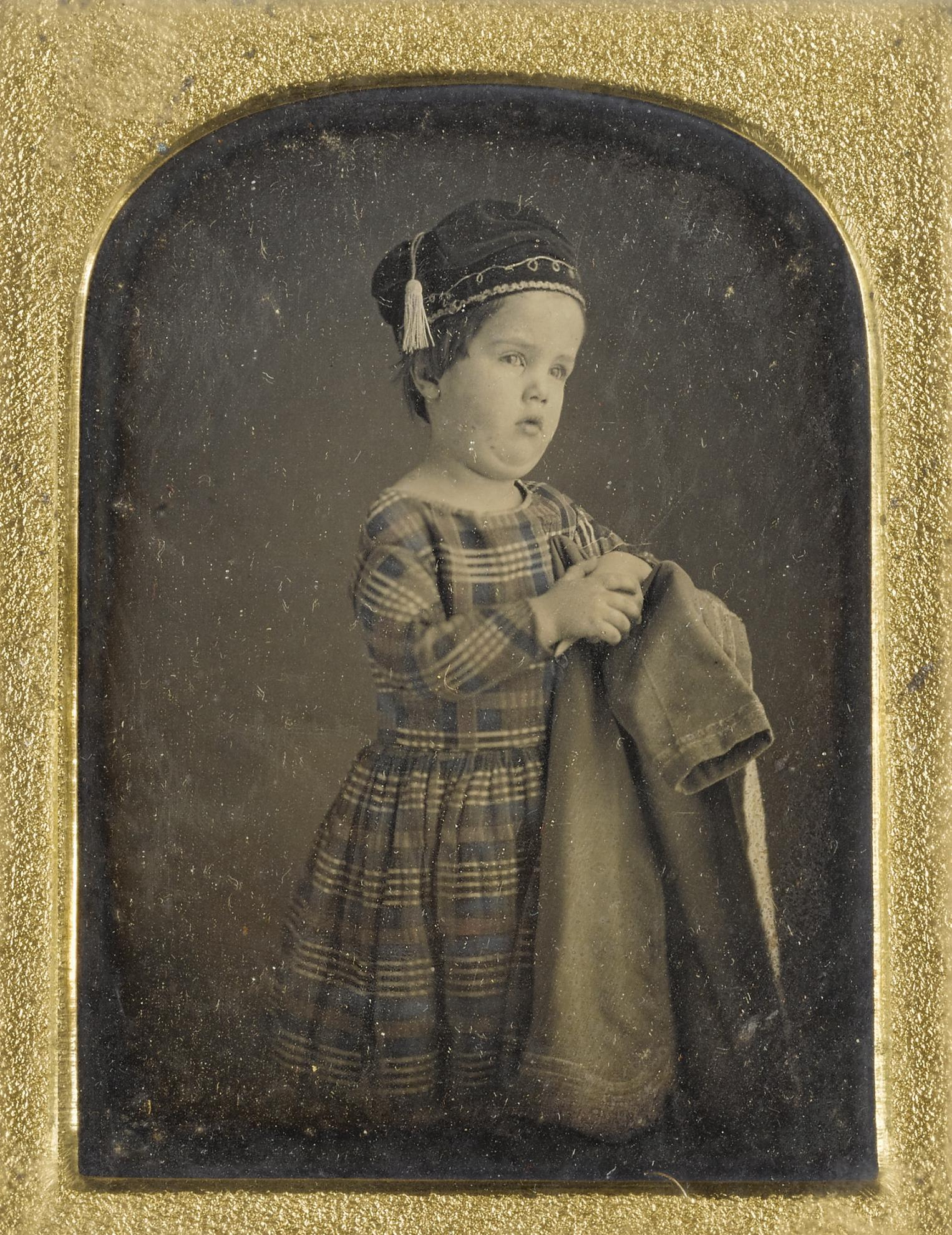 Anson Clark - Achondroplastic Dwarf In Tartan Dress And Smoking Cap-1840