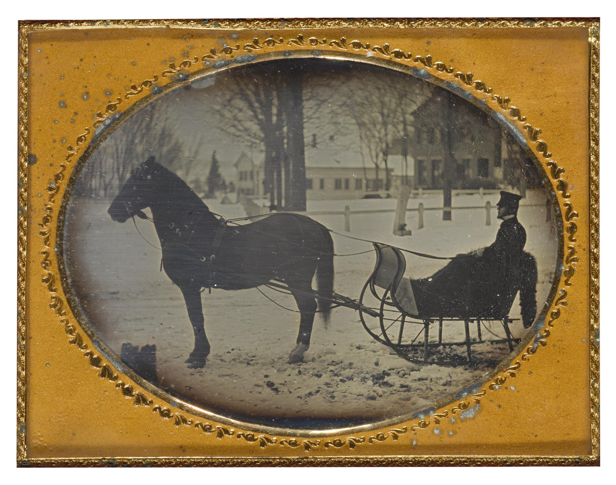 Anonymous American Photographer - Doctor Making House Call On A Winters Day, Connecticut-1850
