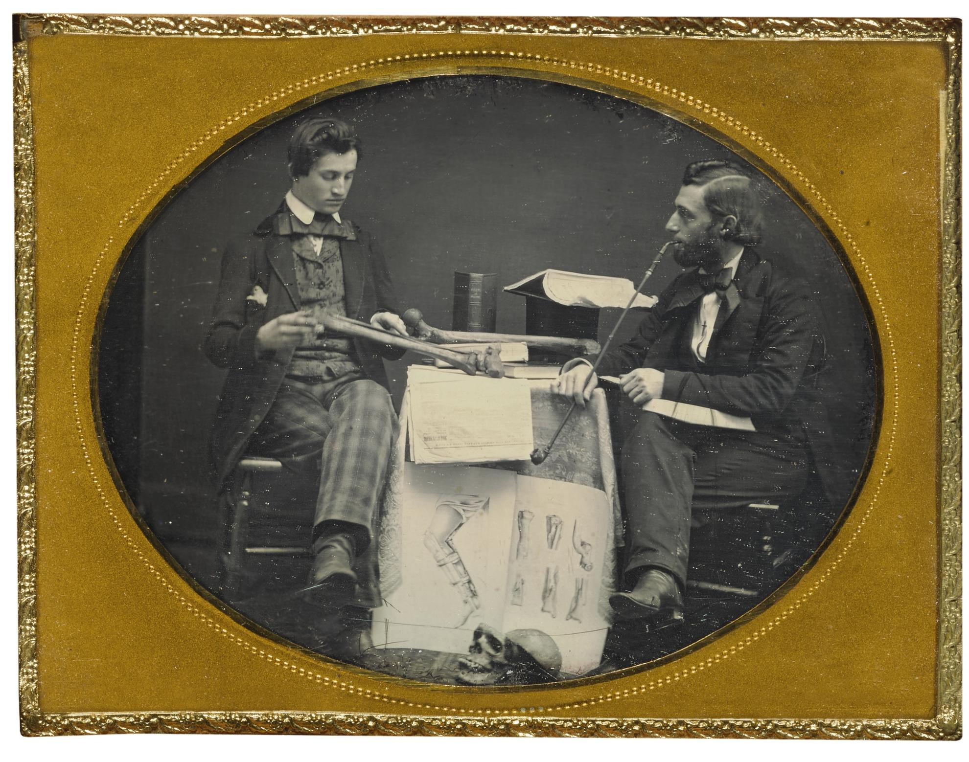 Anonymous American Photographer - Dr. Charles Linnaeus Allen Studying Anatomy With Student-1855