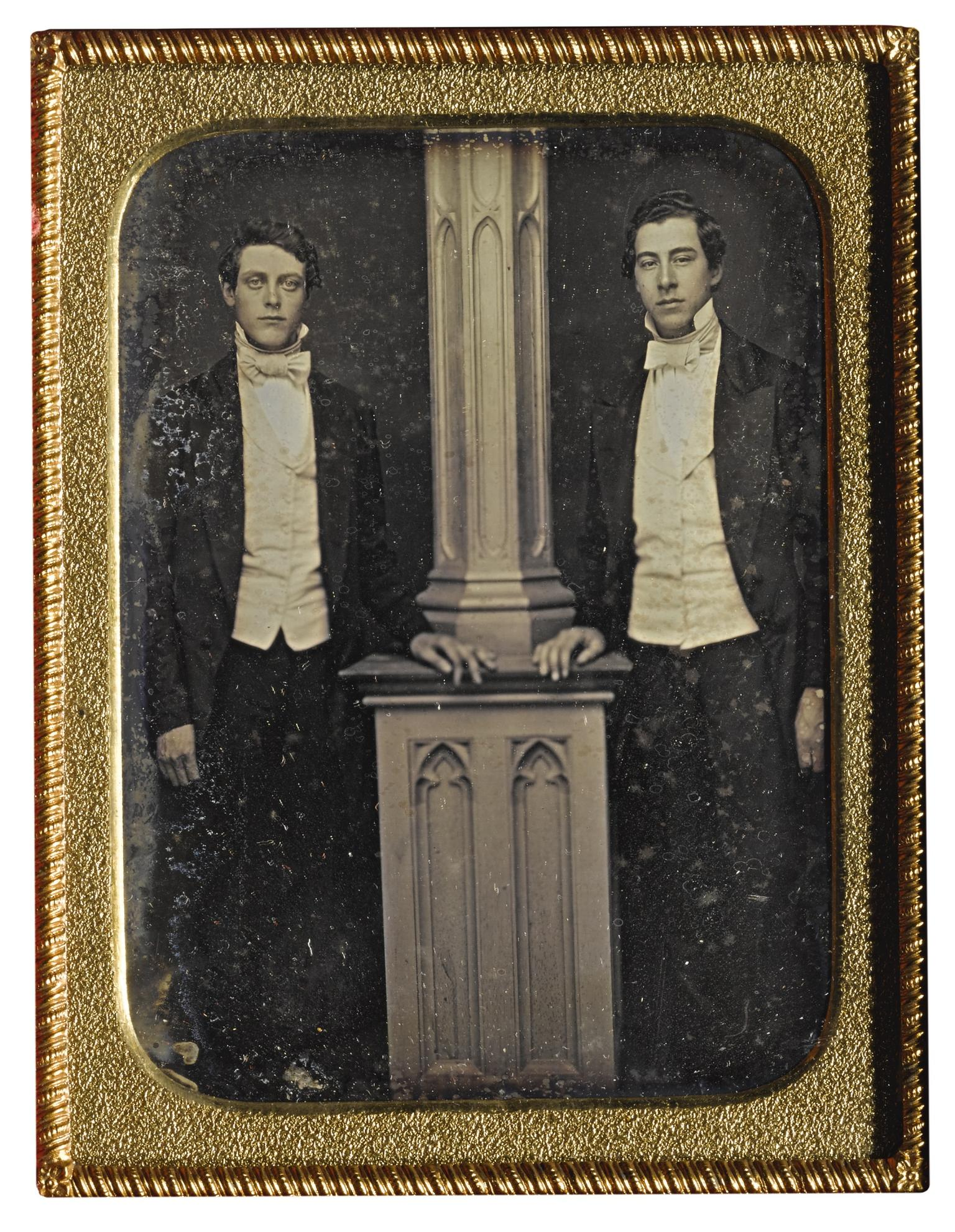 Anonymous American Photographer - Well-Dressed Men Posed By Column-1840