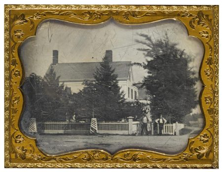 Anonymous American Photographer - Men In Front Of Picket Fence-1850