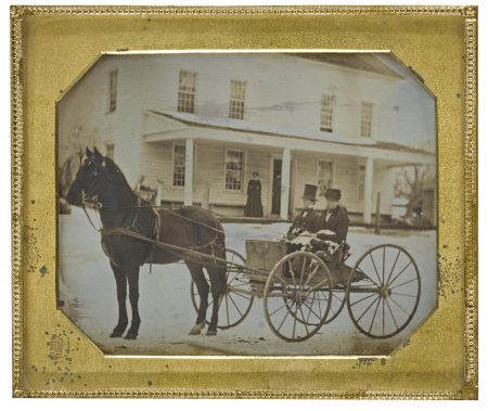 Anonymous American Photographer - Horse Drawn Carriage In Front Of Family Home-1850