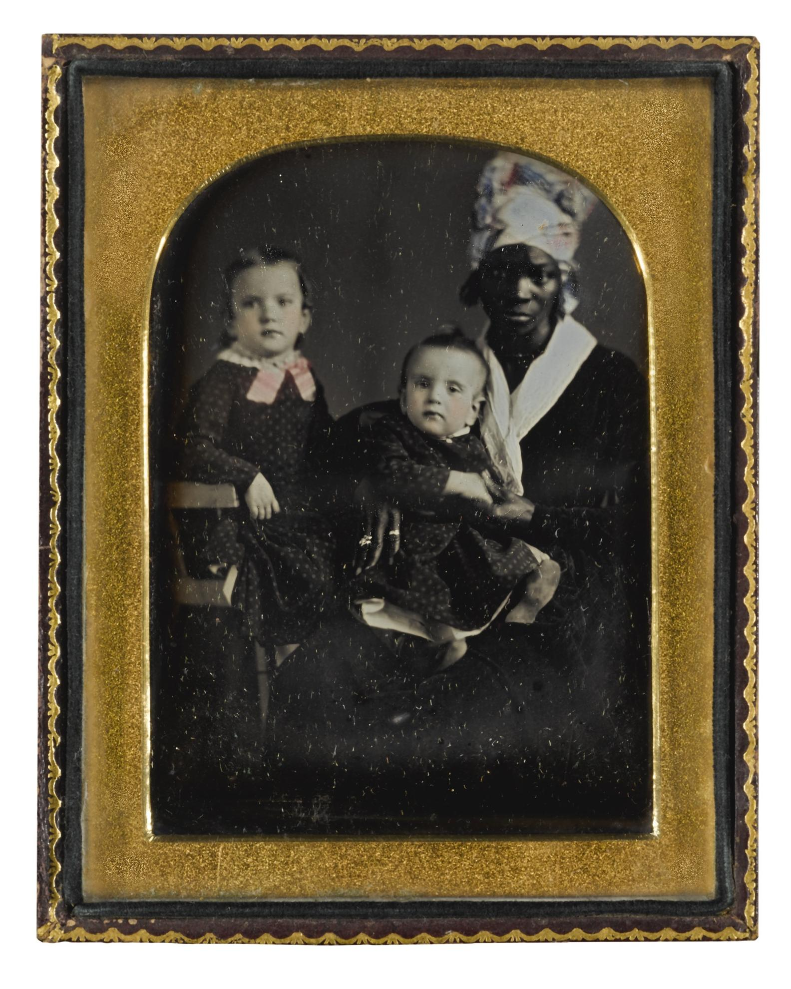 Anonymous American Photographer Possibly Felix Moissenet - Children With Their Nursemaid-1850