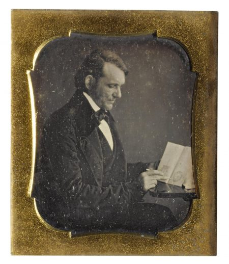 Anonymous American Photographer - Inventor With His Patent Drawings-1850