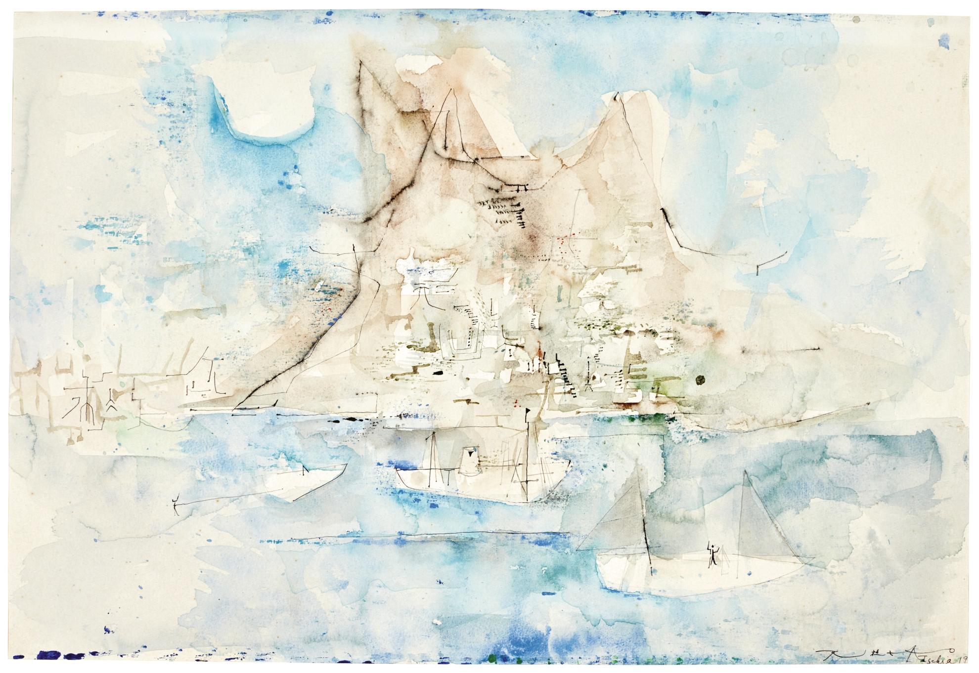 Zao Wou-Ki-Untitled (Barques A Ischia)-1953