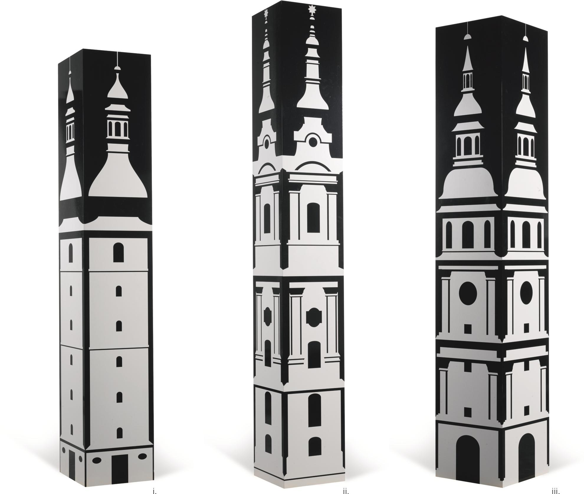 Julian Opie-(i) Baroque Tower 2 (ii) Baroque Tower 3 (iii) Baroque Tower 5 (Three Works)-1997