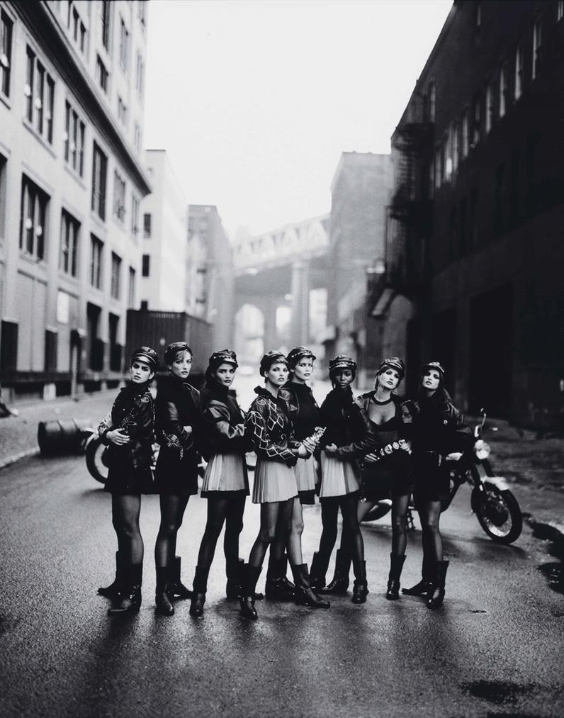 Peter Lindbergh-Cindy Crawford, Tatjana Patitz, Helena Chirstensen, Linda Evangelista, Claudia Schiffer, Naomi Campbell, Karen Mulder & Stephanie Seymour, For Vogue, Brooklyn, New York-1991