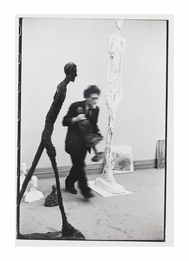 Henri Cartier-Bresson-Alberto Giacometti With Walking Man At Gallery Maeght-1961
