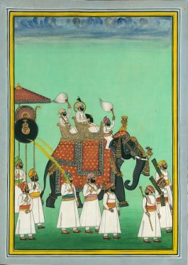 Indian Miniature Painting - Maharana Sarup Singh Of Mewar Riding-1860