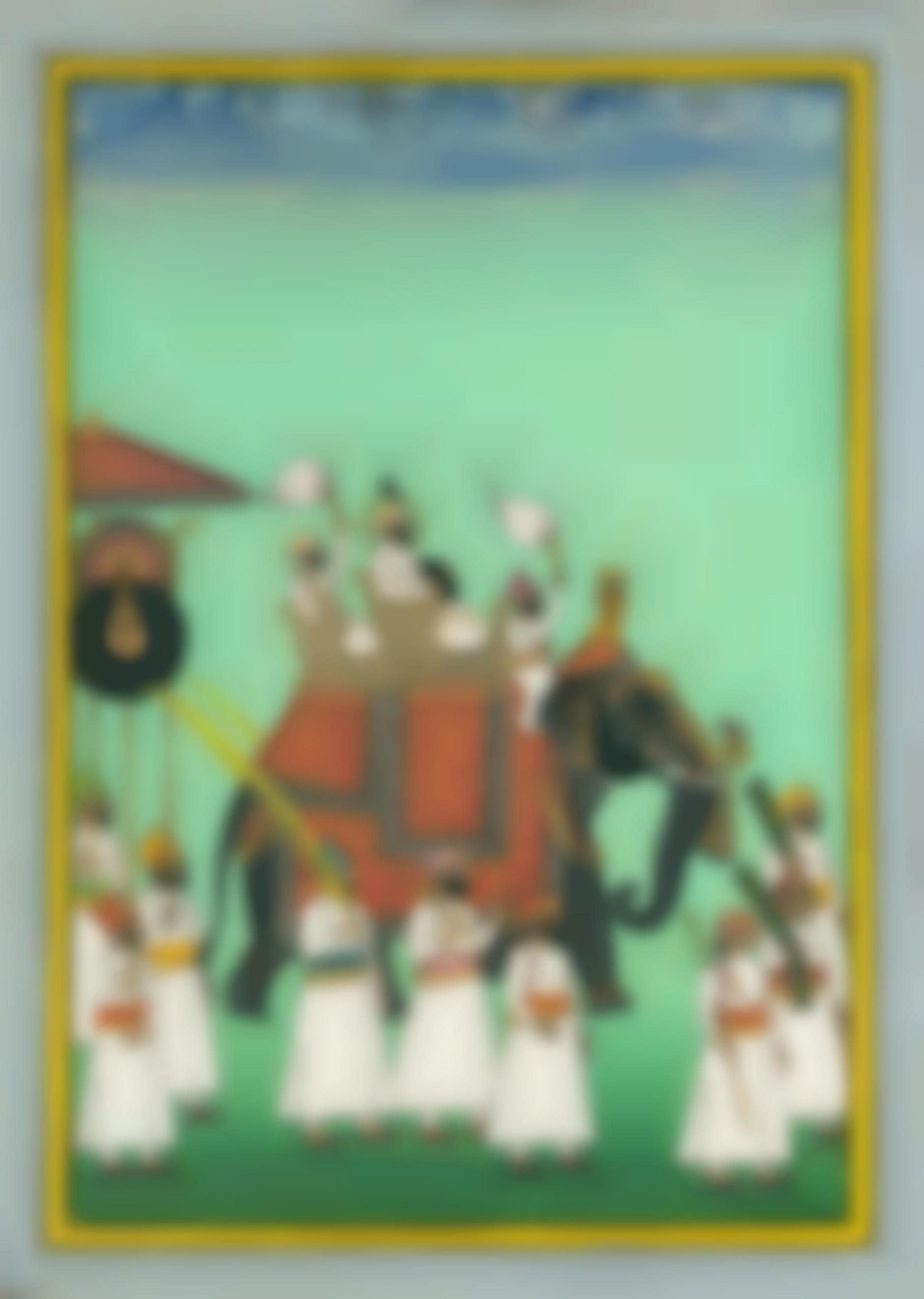 Indian Miniature Painting - Maharana Sarup Singh Of Mewar Riding-1860
