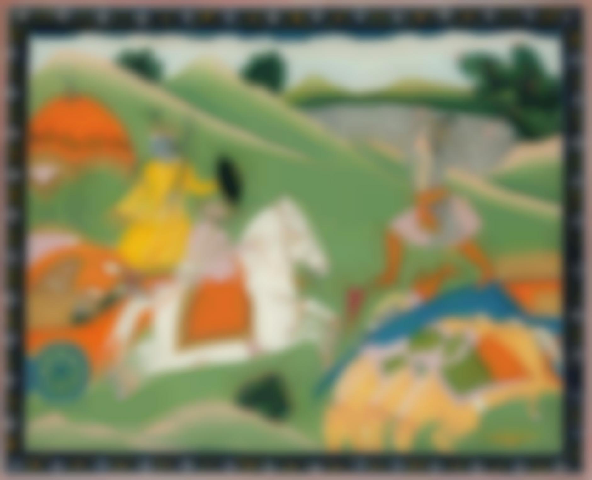 Indian Miniature Painting - Rukma Attacks Krishna-1830