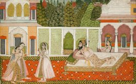 Indian Miniature Painting - A Reclining Mughal Prince, Perhaps Dara Shikoh, Observing The Women In His Garden