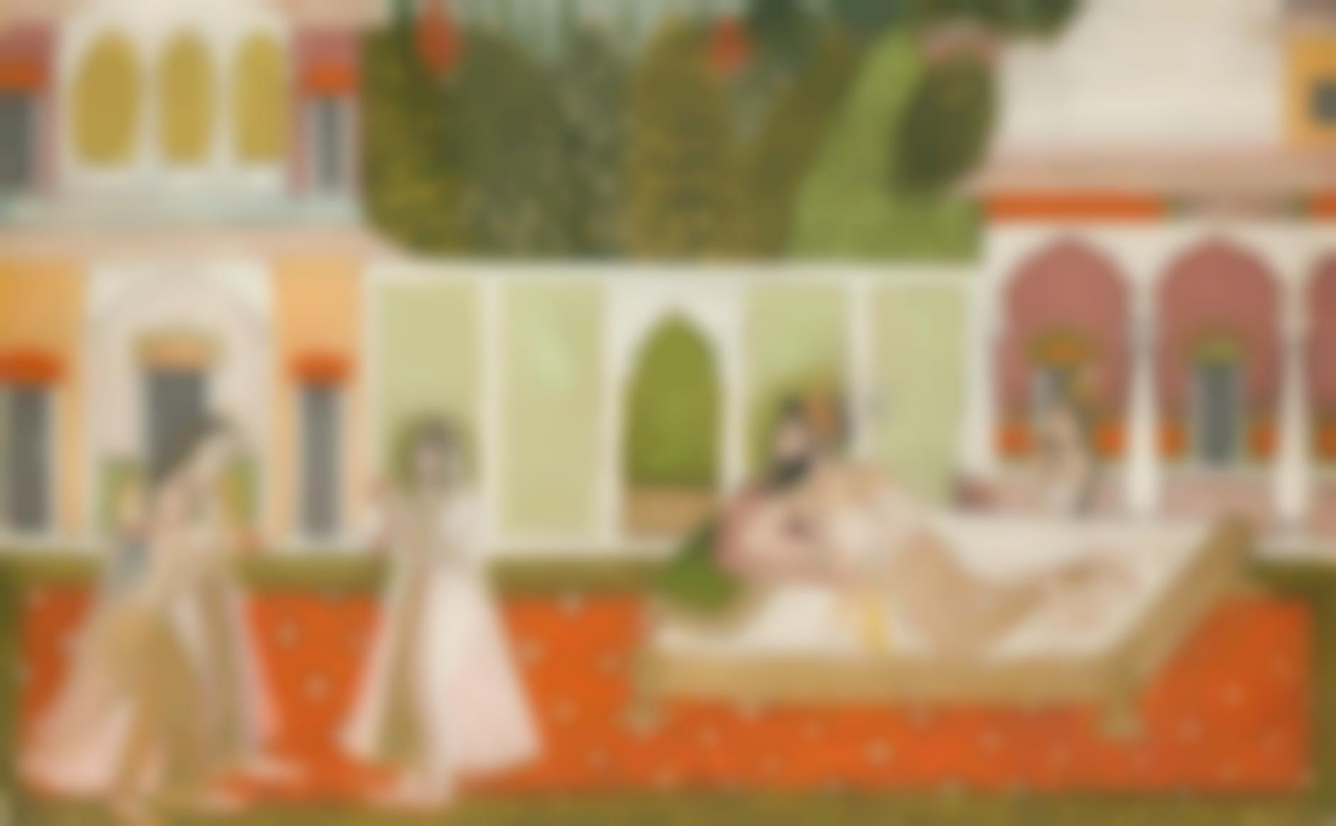 Indian Miniature Painting - A Reclining Mughal Prince, Perhaps Dara Shikoh, Observing The Women In His Garden-