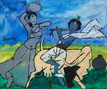 Maqbool Fida Husain-Untitled (Krishna And Radha)-2004