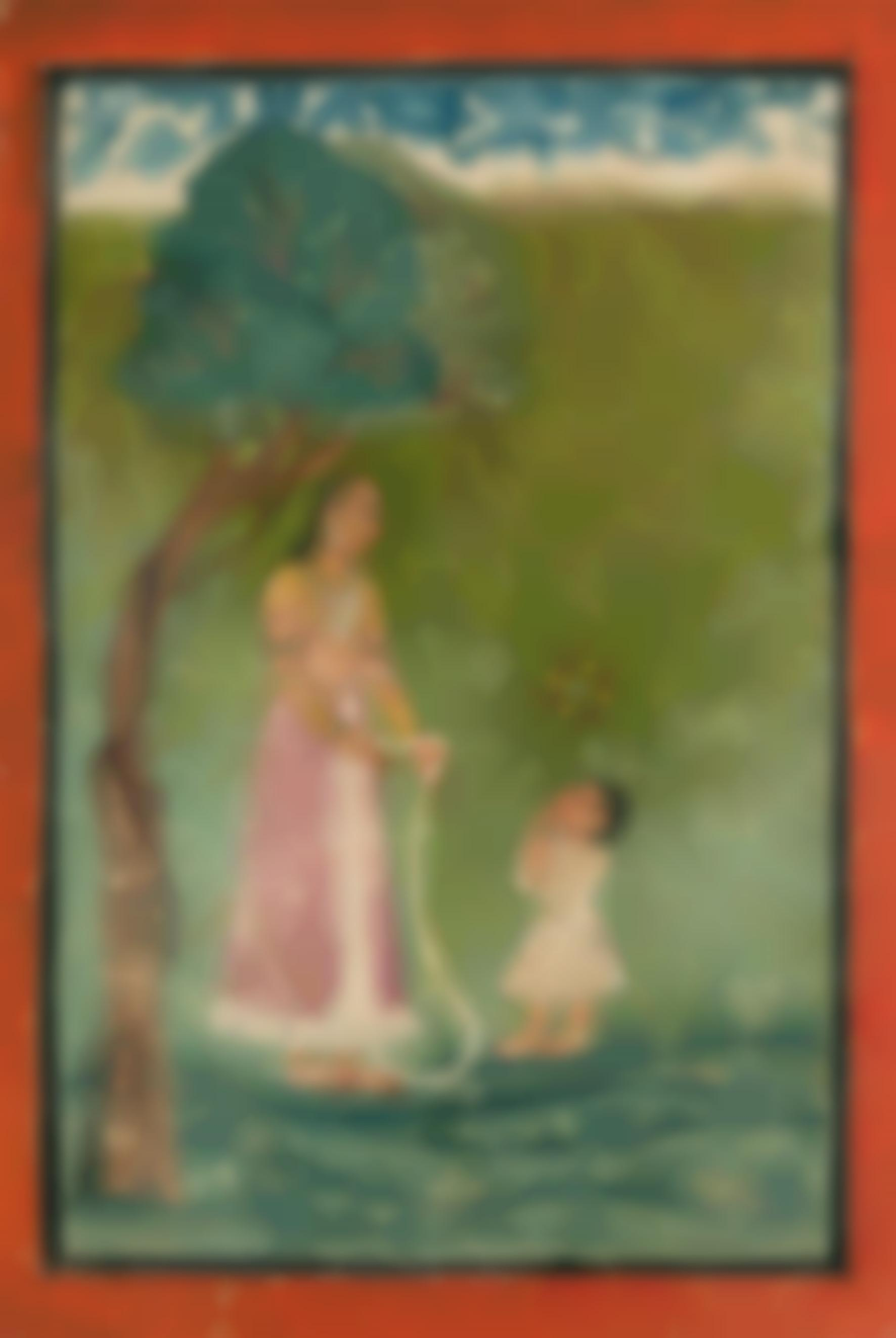 Indian Miniature Painting - A Lady Holding Out A Garland To A Child-1720
