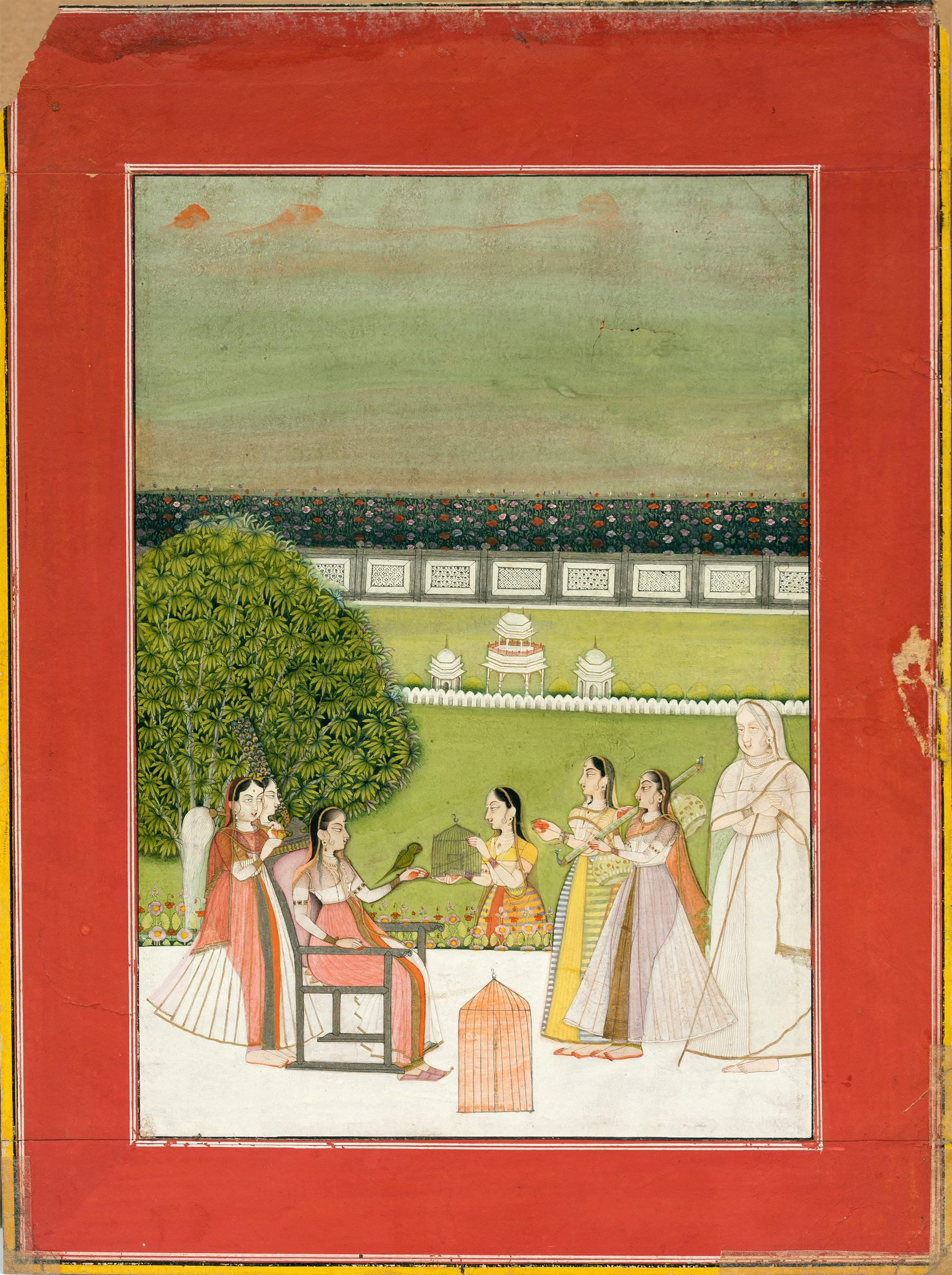 Indian Miniature Painting - A Princess Seated On A Terrace With A Parrot And Listening To Music-1750