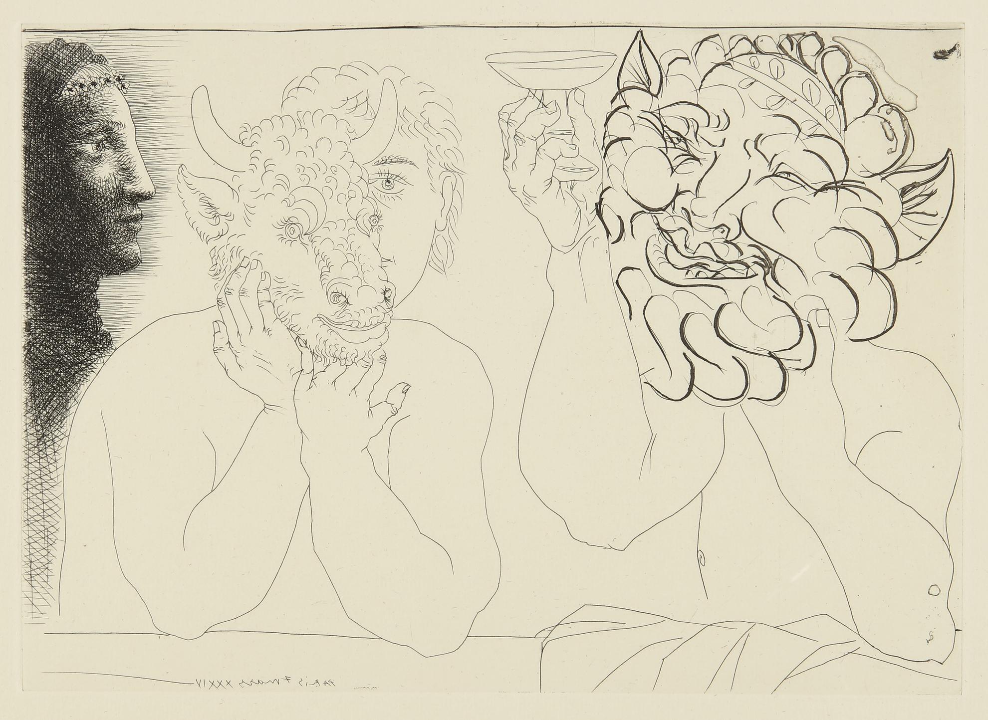 Pablo Picasso-Jeune Homme Au Masque De Taureau, Faune Et Profil De Femme (B. 279; Ba. 422)-1934
