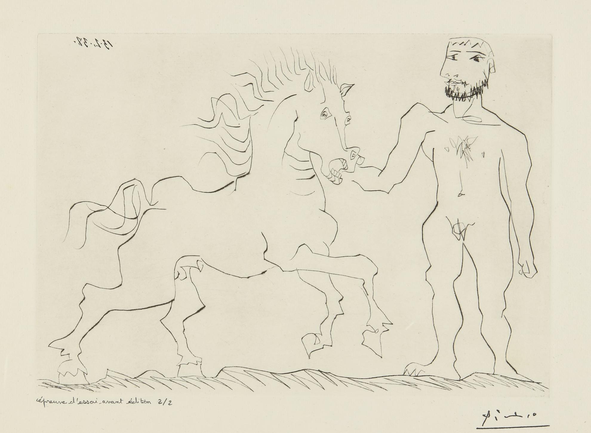 Pablo Picasso-Homme Nu Debout Avec Un Cheval (B. 304; Ba. 632)-1938