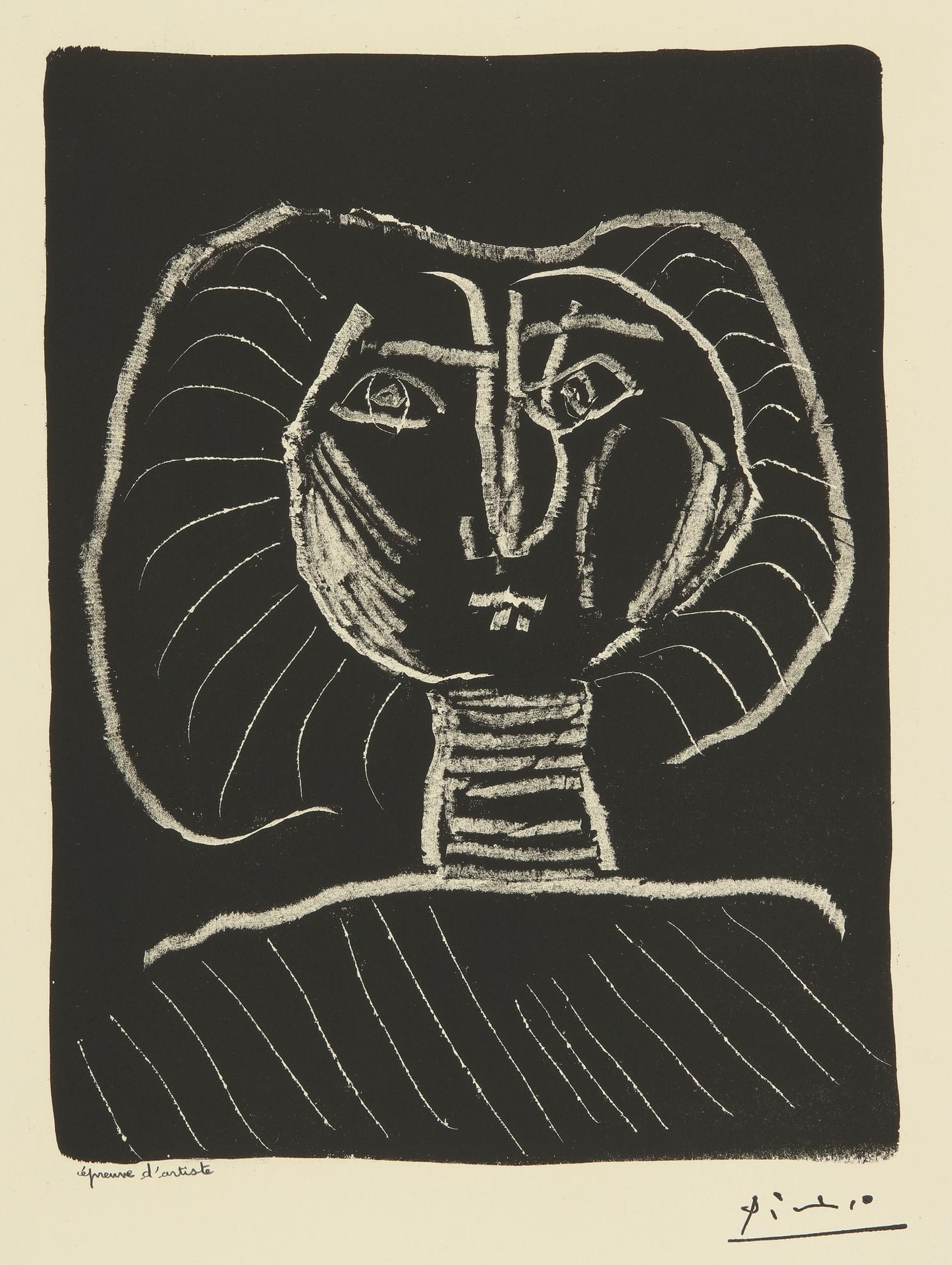 Pablo Picasso-Tete De Femme Fond Noir (B. 376; Mourlot 2)-1945
