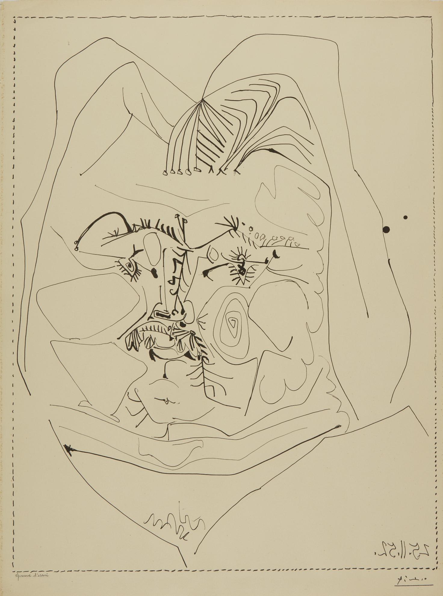 Pablo Picasso-Balzac (B. 724; M. 226)-1952