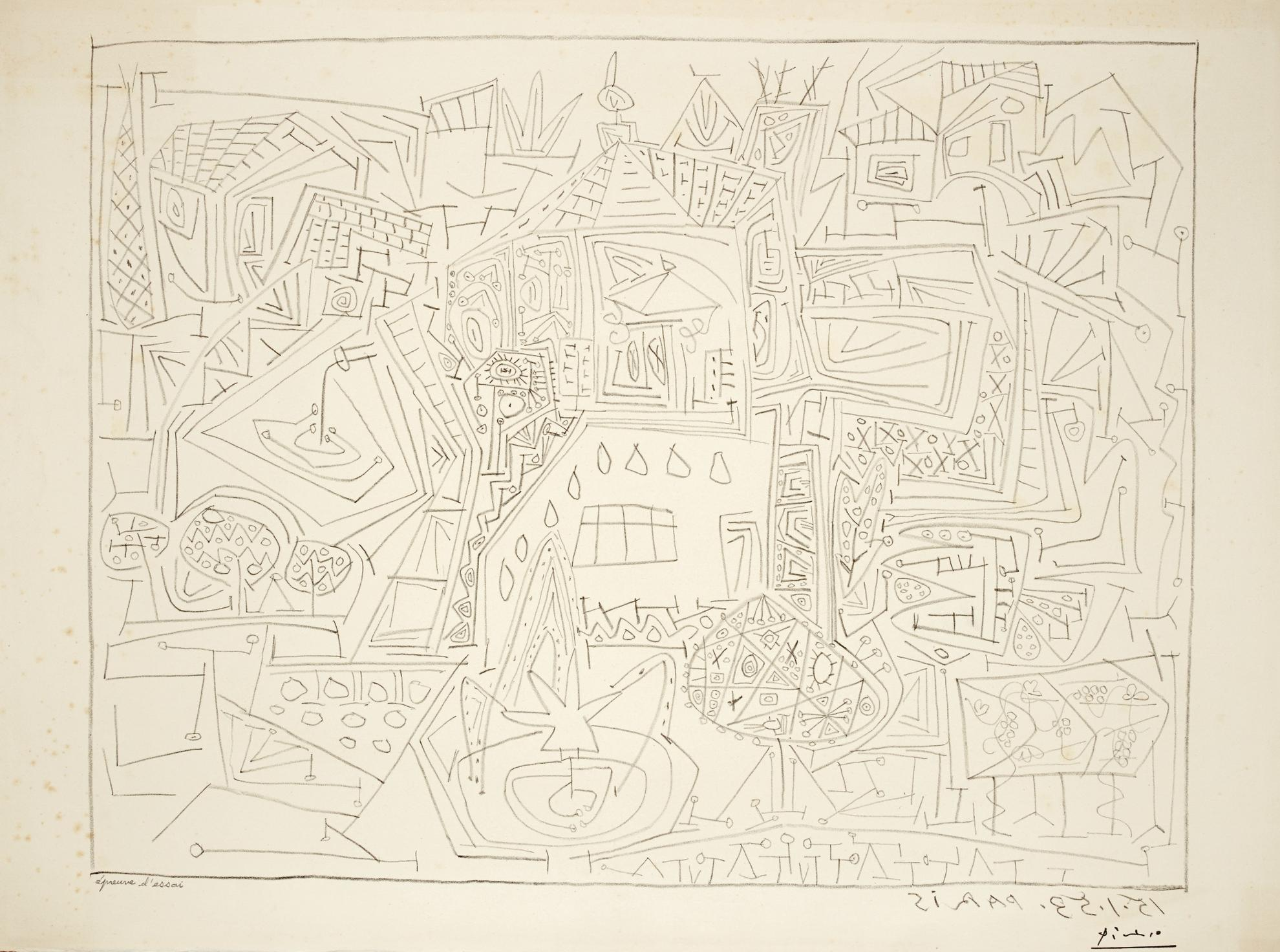 Pablo Picasso-Jardins A Vallauris (B. 733; M. 236)-1953