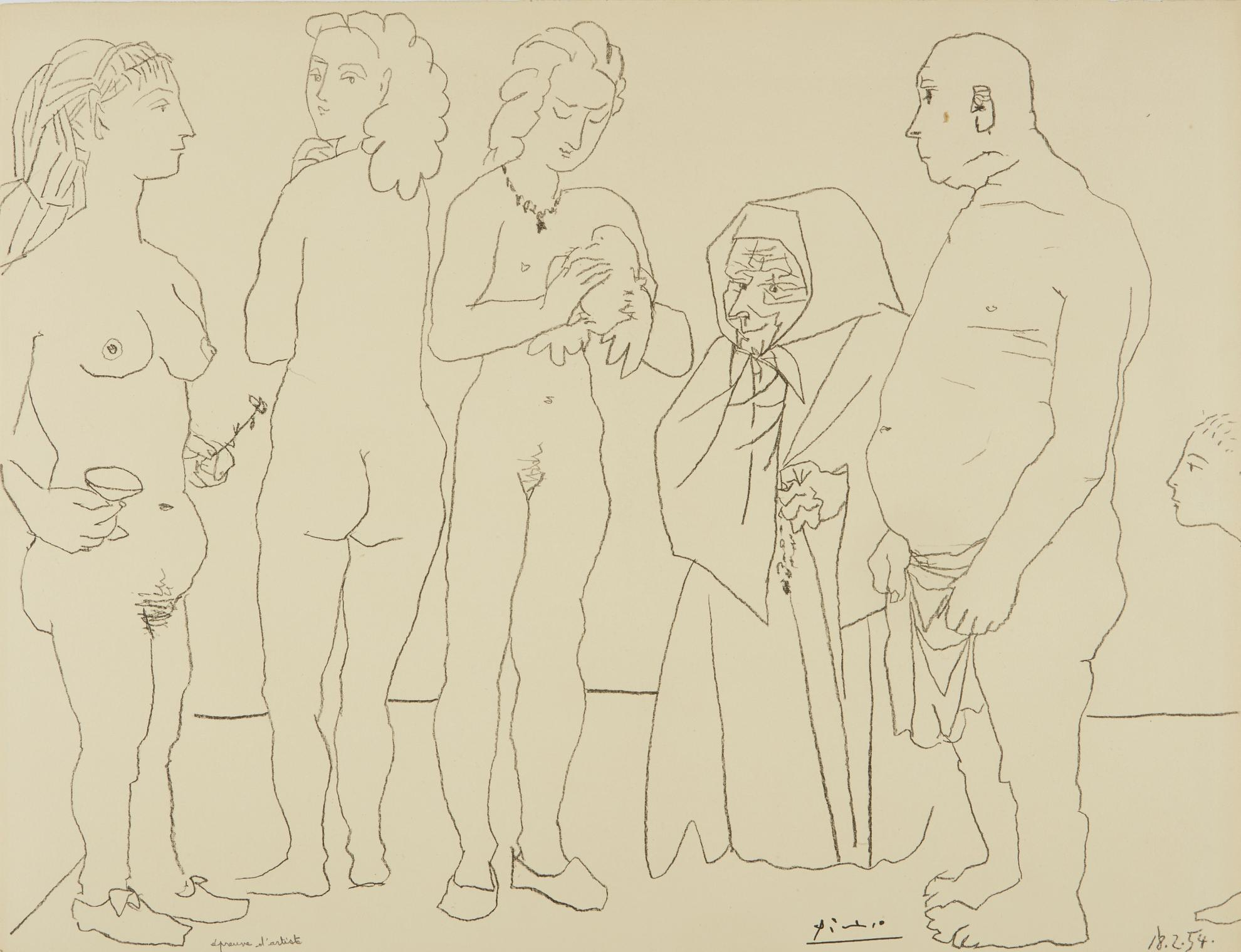 Pablo Picasso-Personnages Et Colombe (B. 758; M. 254)-1954