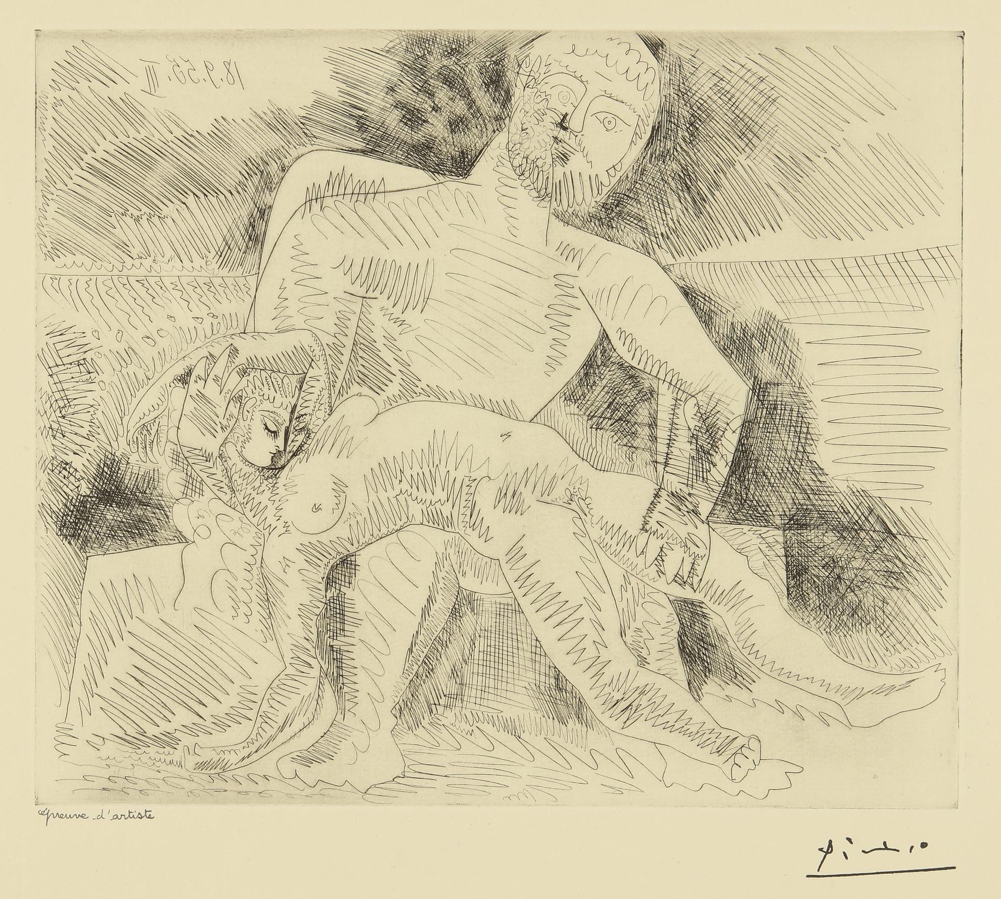 Pablo Picasso-Le Rapt (B. 775; Ba. 950)-1955