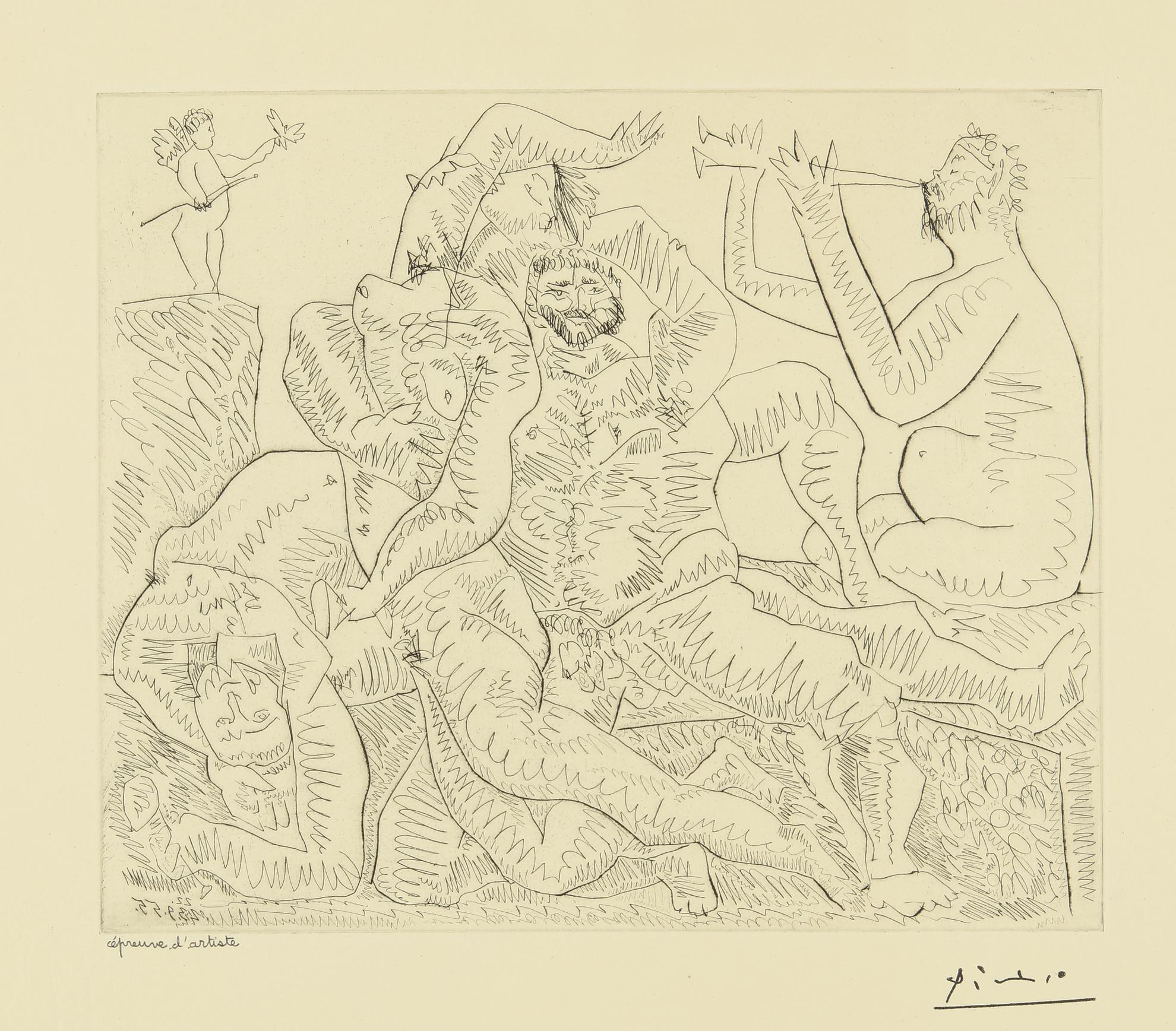 Pablo Picasso-Bacchanale, Avec Eros En Haut A Gauche (B. 776; Ba. 951)-1955