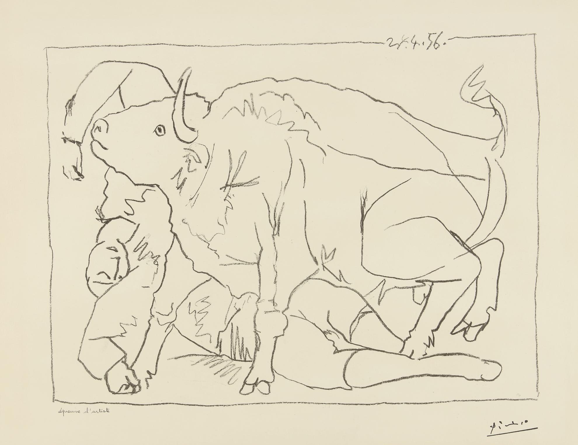 Pablo Picasso-Le Torero Blesse (B. 799; M. 276)-1956
