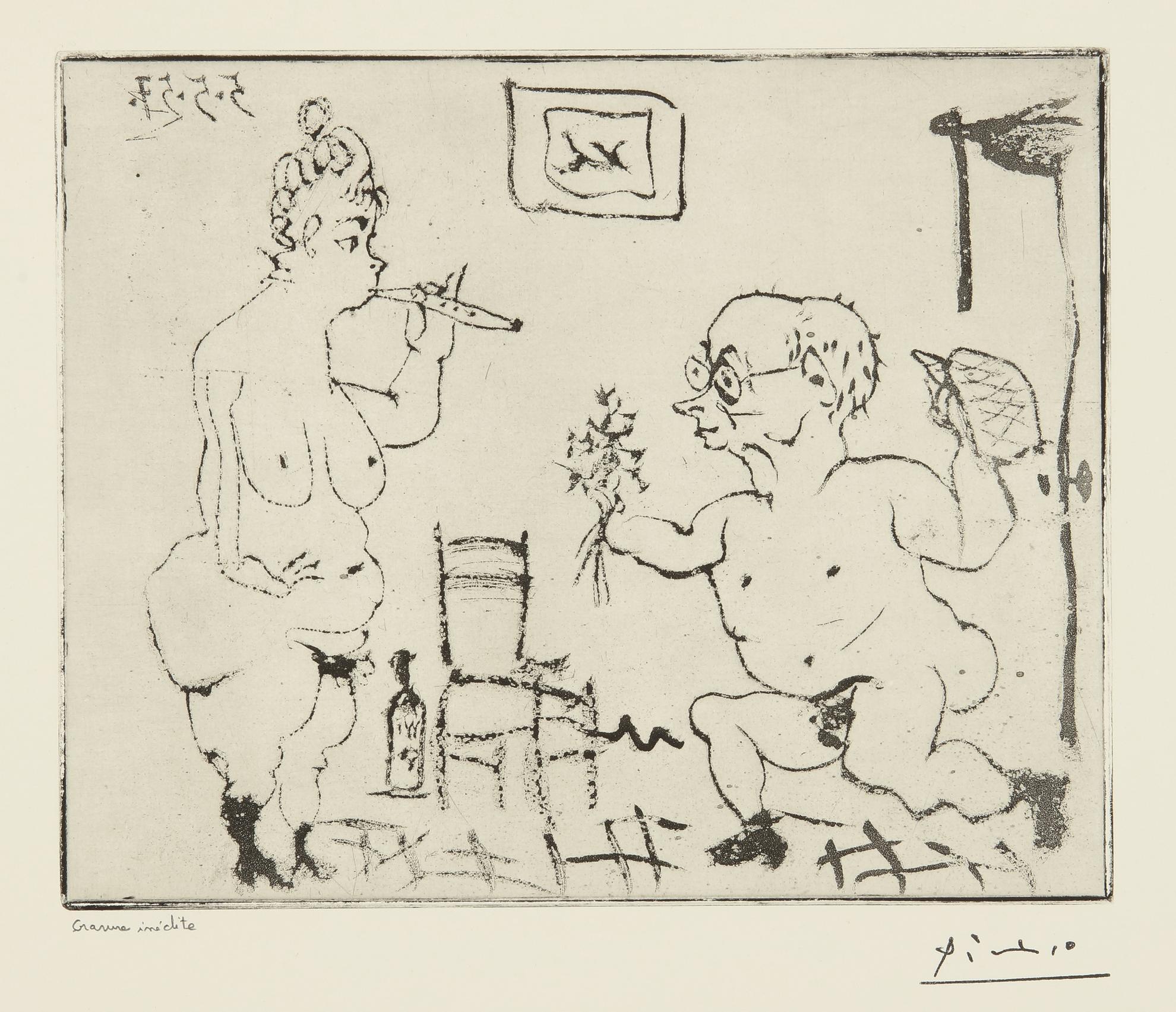 Pablo Picasso-Histoire De Sabartes Et De Sa Voisine: 'Voici Quelques Fleurs...' (Ba. 965)-1957